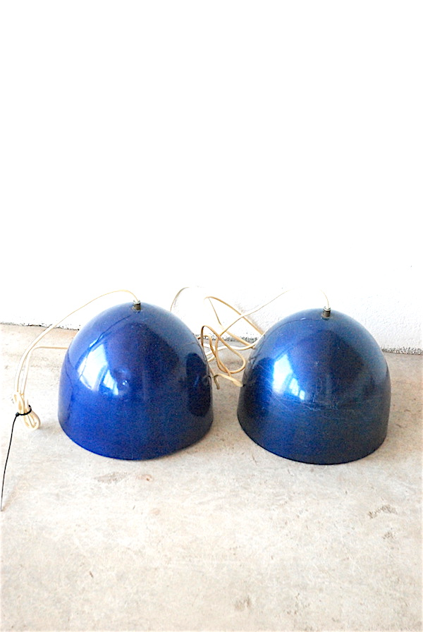 1 pair of Asger Bay Christiansen. metallic blue painted ceiling lamp, model 'Bötten'.