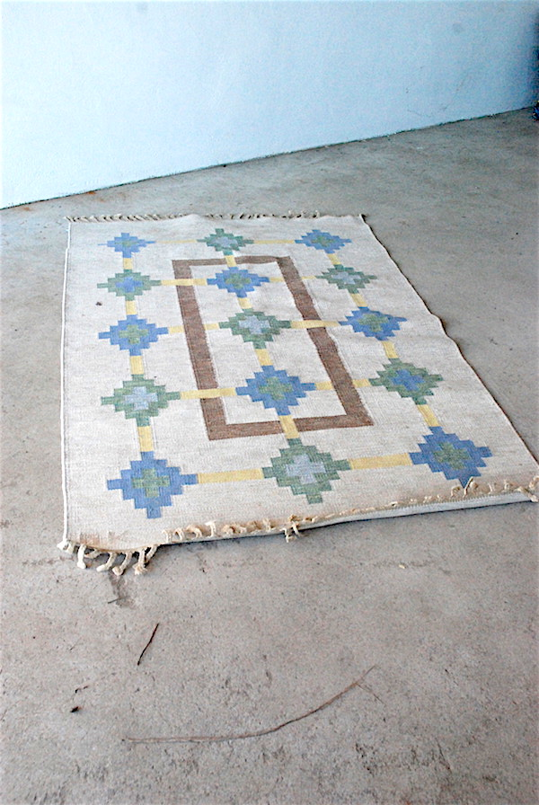 Tapestry carpet, Signed GK, about 202 x 137 cm.